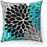 UTF4C Throw Pillow Cover, Teal Black Gray, Flower Burst Pillow Cover, Accent Pillow, Modern Home Decor, Aqua and Black Pillow Cover,18x18 Inches