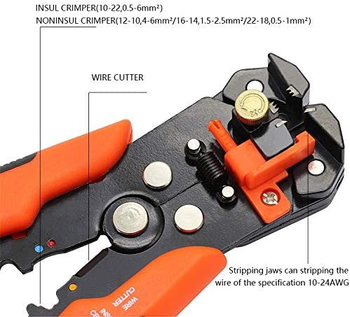 No-Branded Wire Stripper HS-D1 Crimper Cable Cutter Automatic Wire Stripper Multifunctional Stripping Tools Crimping Pliers Terminal Tool JFYCUICAN (Color : D3 Green) D3 Orange