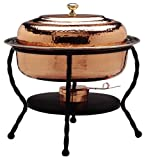 Old Dutch Oval Copper-Plated Chafing Dish, 6 Qt