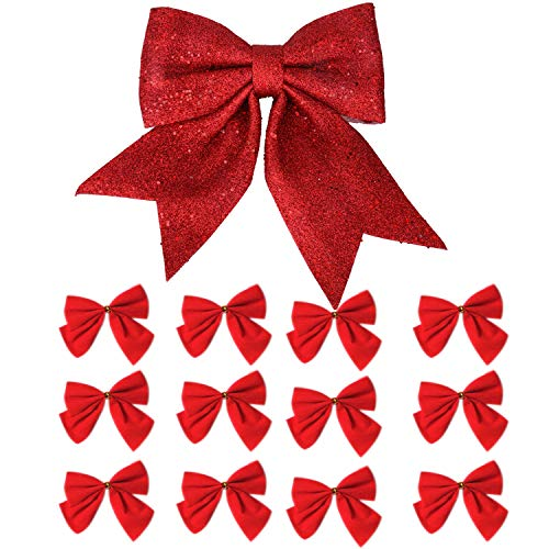 (One Large Red Christmas Tree Topper Bow and 12 Christmas Tree Bows Red, 13 ct)