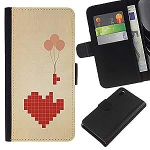 KingStore / Leather Etui en cuir / Sony Xperia Z3 D6603 / Broken Heart Art Globo Significado;
