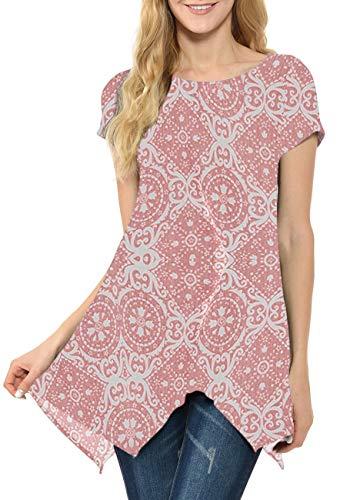 MIROL Womens Summer Short Sleeve Floral Print Irregular Hem Asymmetrical Loose Fit Tunic Tops (Large, Pink Flower)