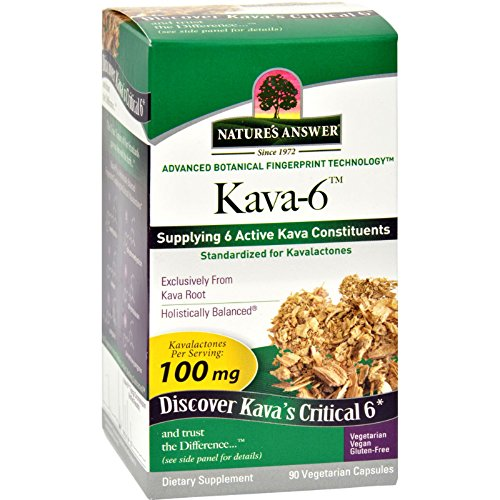 Natures Answer Kava 6 Capsules - Gluten Free - 90 Vegetarian Capsules
