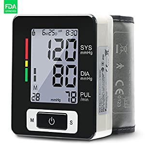 Wrist Blood Pressure Monitor FDA Approved Accurate Wrist BP Monitor Clinical Automatic Blood Pressure Monitor for Wrist with Irregular Heartbeat Detector,Pulse Rate and Portable Case for Travel(60CH)