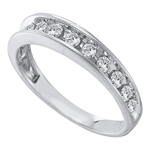 14kt White Gold Womens Round Channel-set Diamond Single Row Wedding Band 1/2 Cttw (Band Single Diamond Wedding)
