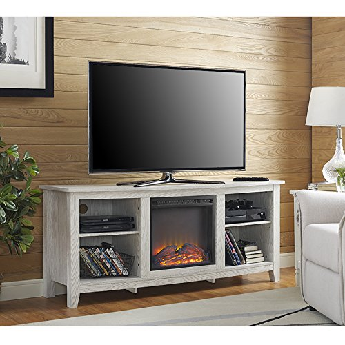 white tv stand with fireplace - 1