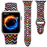 Haveda Floral Band Compatible with Apple Watch 38/40mm, Soft Pattern Printed Silicone Sport Replacement Wristbands for Women Men Kids with iWatch Series 4 3 2 1, M/L, Wave Pattern