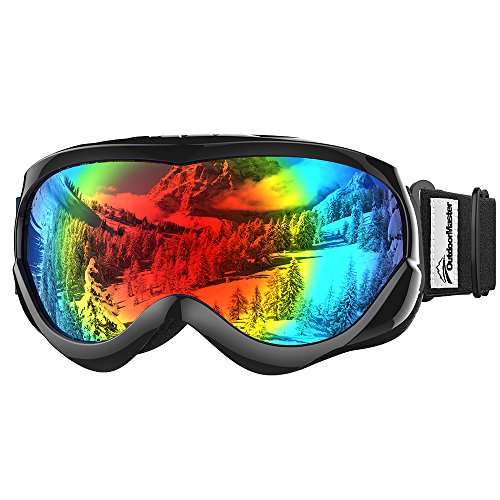 OutdoorMaster Kids Ski Goggles - Helmet Compatible Snow Goggles for Boys & Girls with 100% UV Protection (Black Frame + VLT 14% Grey Lens with REVO - Are Glasses What Tinted