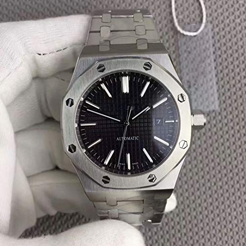 Luxury Brand Stainless Steel Silver Color Black dial Automatic Movement Oak Watch -