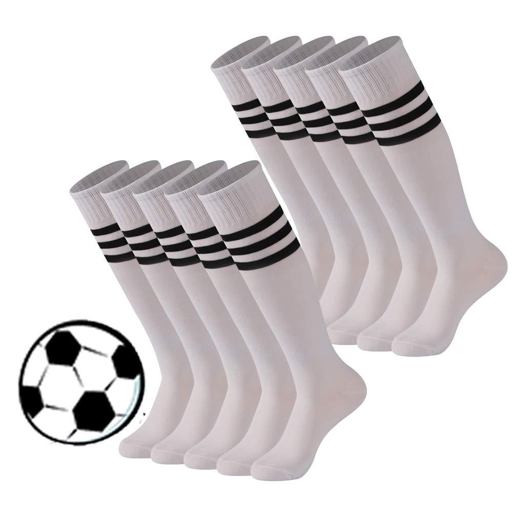 Back to School Gift Mens Football Socks, Calbom Unisex Youth Soild Color Dress High Team Sports Soccer Cosplay Socks 10 Pairs White by Calbom