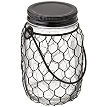 """The Gerson Company 93242 5.4"""" H Battery Operated Clear Mason Jar 5.4''H Battery Operated Clear Glass Mason Jar with Black Wire Net & 10 Warm White Micro LED Lights"""