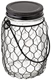The Gerson Company 93242 5.4' H Battery Operated Clear Mason Jar 5.4''H Battery Operated Clear Glass Mason Jar with Black Wire Net & 10 Warm White Micro LED Lights