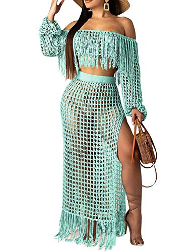 - Women Sexy Off Shoulder Hollow Out 2 Piece Outfits Long Sleeve See Through Crop Top Tassel Split Maxi Long Skirts Dress Set Green XL
