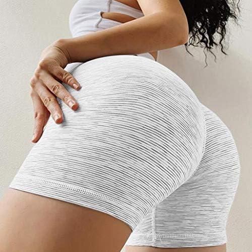 niumanery Women High Waist Stretch Workout Shorts Butt Lift Stripes Yoga Shaping Pants Pink 3XL