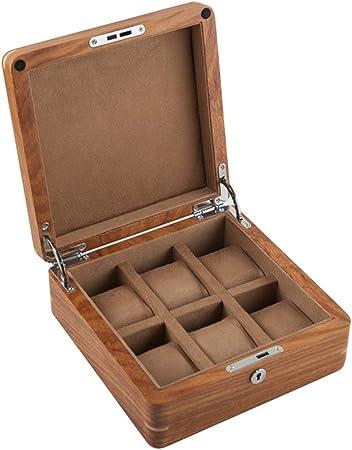 Caja de Relojes 6 Ranuras Colección de Joyas de Madera Estuche para Organizador con Cerradura de Metal y Almohadas Desmontables de Color marrón/Beige para Hombres y Mujeres: Amazon.es: Hogar