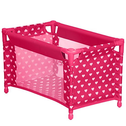 Doll Crib Playpen Bed With Pillow, Blanket And Carry Bag, Fits 18 Inch American Girl Doll