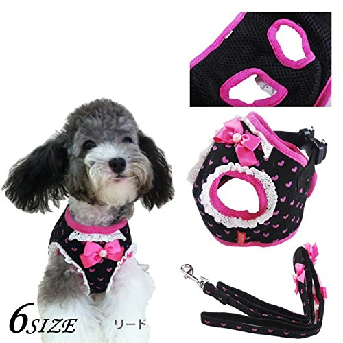 Bowtie Dogs Collar Harness Leash Set Heart Sailor Prints Pets Walking Vest Cotton Chest straps Lace Dog harnesses Lead Black Pink (love print black, S)
