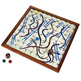 Wooden Snake and Ladder Classic Game With Magnetic Board And Pieces.