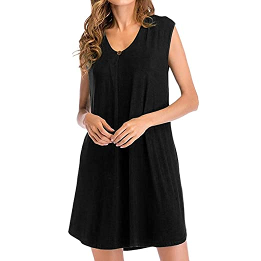 Teresamoon Womens Sleeveless Casual Swing Dresses V Neck T Shirt Dress with Pockets