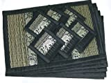 Thai Reed Placemats with Coasters (Set of 6), Dark Brown