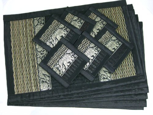 Thai Reed Placemats with Coasters (Set of 6), Dark Brown by San Saa Nei