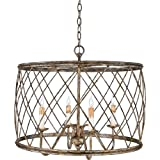 Quoizel RDY2823CS Dury Cage Drum Pendant Lighting - 4-Light - 240 Watts - Century Silver Leaf (20