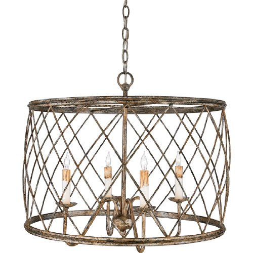 - Quoizel RDY2823CS Dury Cage Drum Pendant Lighting, 4-Light, 240 Watts, Century Silver Leaf (20
