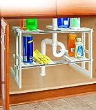 2 Tier Adjustable Under Sink Storage Shelves - 17.5 to 29.5'', STEEL