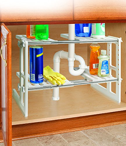 2 Tier Adjustable Under Sink Storage Shelves - 17.5 to 29.5