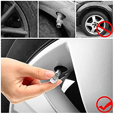 20 Pieces Tire Valve Caps Aluminum Valve Stem Caps in Hexagon Shape with Rubber O-Ring Seal Stem Covers Universal Fits for Car Truck Motorcycles Bike and Bicycle (Silver): Automotive