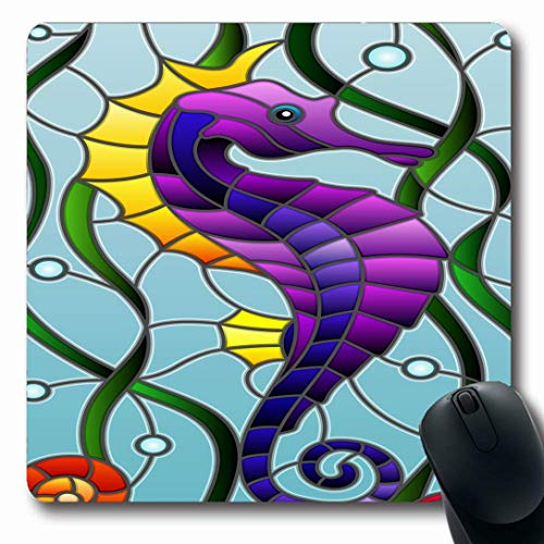 Ahawoso Mousepads for Computers Stained Air Glass Fish Seahorse Wildlife Mosaic Abstract Algae Aquarium Bubble Carp Coloring Design Oblong Shape 7.9 x 9.5 Inches Non-Slip Oblong Gaming Mouse Pad