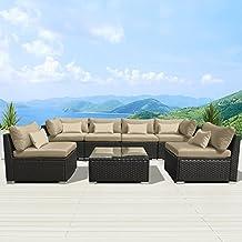 Modenzi 7G-U Outdoor Sectional Patio Furniture Espresso Brown Wicker Sofa Set (Light Beige)