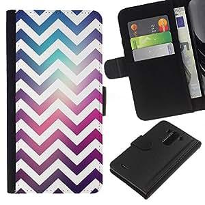 KLONGSHOP // Tirón de la caja Cartera de cuero con ranuras para tarjetas - Patrón Zag Disco Party Blanca - LG G3 //