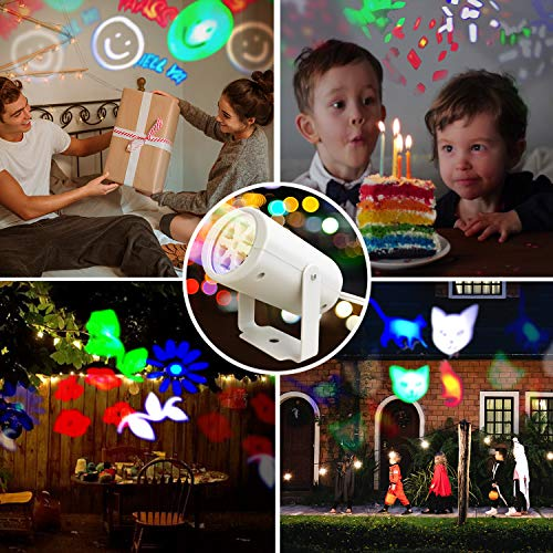 Disco Lights, Night Light Projector, LED Projector Lights, Party Projector, 4 Pattern Slides, for Parties, Shows, DJ, Indoor and Outdoor Events
