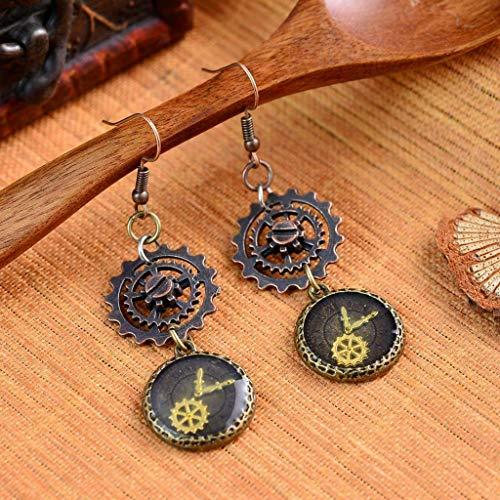 Gothic Punk Gear Earrings Personality Watch Gear Dangle Hook Style Earrings Necklace Jewelry Crafting Key Chain Bracelet Pendants Accessories Best