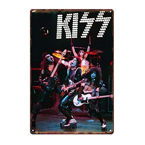 NEWNESS WORLD 1pc Modern and Decorative Metal Tin Singer/Band Theme KISS Metal Sign Wall Decoration Wall Hanging Sign,20 by 30 cm(Pattern 40)