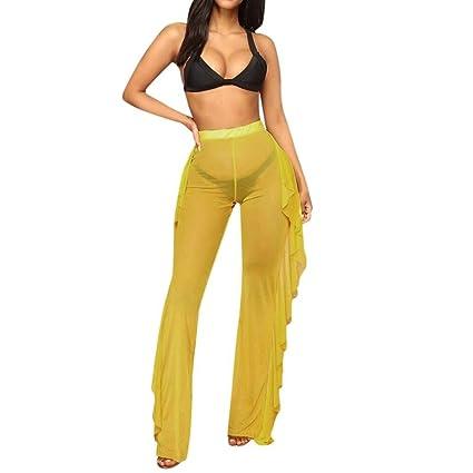 8a4775f374c Amazon.com: Women's Sexy Sheer Irregular Mesh Falbala Cover up Pants ...