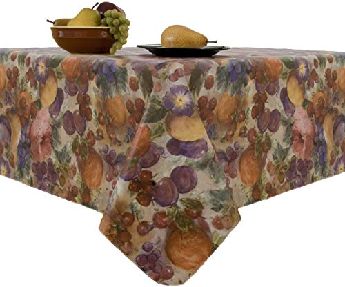 EVERYDAY LUXURIES Fruitasia Flannel Backed Vinyl Tablecloth Indoor Outdoor, 90-Inch Round (90 Inch Round Vinyl Flannel Backed Tablecloth)