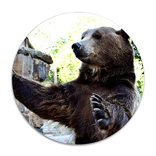 Reteone Animals Cute Brown Bear Anti-slip Coral Velvet Round Area Rugs Memory Foam Floor Carpets Mats 15.75 Inch Diameter Bedroom Rug Yoga Chair Mat Doormat (Edmonton Rugs Ikea)