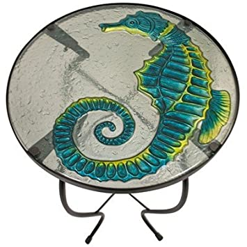 Jaco of America, Inc. Glass Nautical Accent Table Seahorse