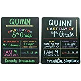 "Custom Product Solutions Reusable First & Last Day of School Chalkboard Sign. Photo Prop Board, Black w/color print - 12"" x 10"" rectangle set of 2"