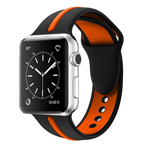 Apple Watch Band, Solomo [Sport Series] Fashion iWatch Strap Soft Durable Silicone Replacement Stripe Color Splicing Style with Women / Men Wristband for Apple Watch Nike+,Series 3 /2 /1 (42MM Orange) -  YuanHeng Digital Technology Co.,Ltd, AWBSSAO42OE