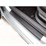 MTSZZF 4Pcs Fiber Car Door Sill Scuff Welcome Pedal Protect Carbon Stickers Accessories