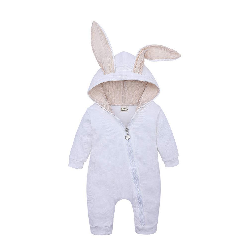 KIDS TALES Newborn Baby Winter Warm Outfits Cute Rabbit Ear Hooded Zipper Romper