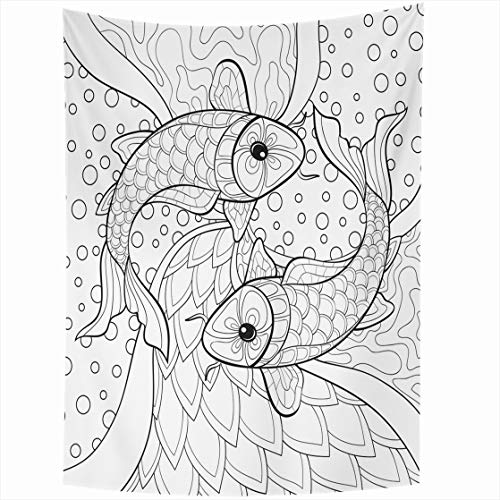 Ahawoso Tapestry Wall Hanging 60x80 Page Retro Adult Coloring Book Fish Activity Abstract Nature Black Boho Child Colors Home Decor Tapestries Decorative Bedroom Living Room Dorm