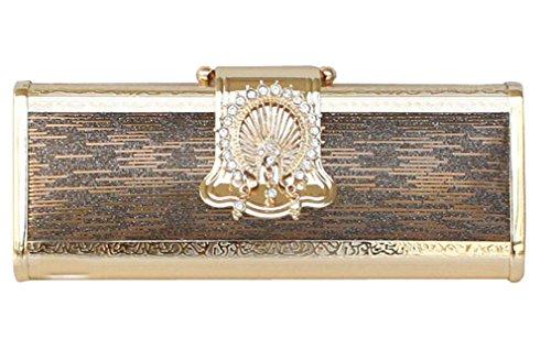 (UNbox Womens Gorgeous Hard Shell Box Rhinestone Clutch Party Bag Coffee)