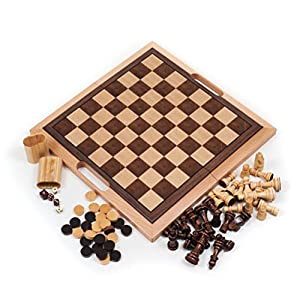 Deluxe Quality Wooden Chess Checker & Backgammon Set - Fold in Half for Storage