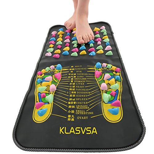 Reflexology Walk Stone Reflexology Foot Mat Pain Relieve Foot Leg Massager Mat Health Care Home Relaxtion (black mat ,colorful stone)
