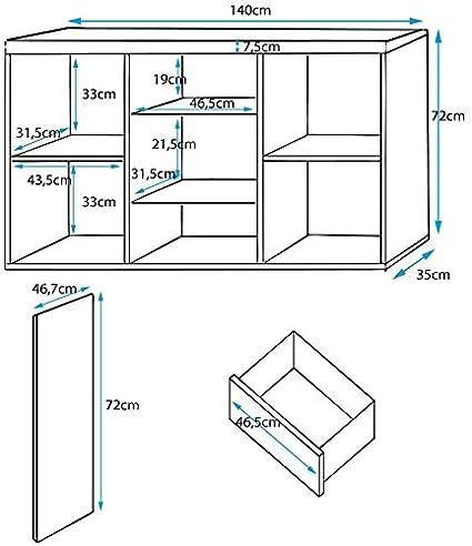 muebles bonitos – Aparador Modelo Nalak Color Blanco - Todo el Mueble en Alto Brillo