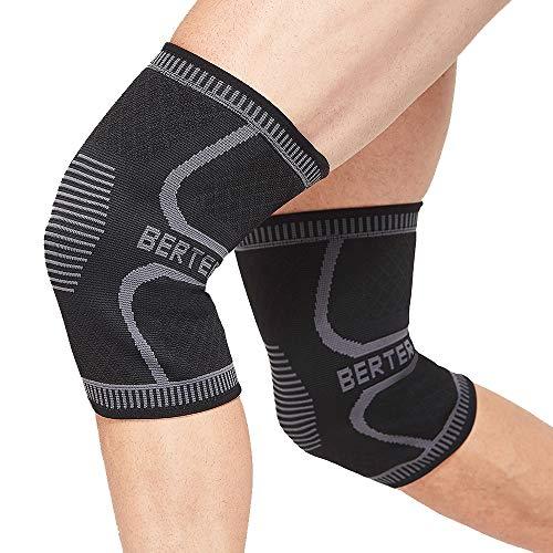 BERTER Knee Brace for Men Women - Compression Sleeve Non-Slip for Running, Hiking, Soccer, Basketball for Meniscus Tear Arthritis ACL Pair Wrap